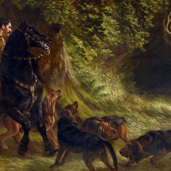 obraz so sv. Hubertom na love pri stretnutí s legendárnym jeleňom, ktorý zmenil jeho život