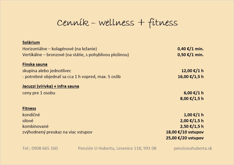 Penzión U Huberta - cenník fitness a wellness
