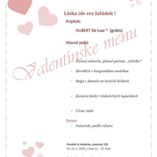 Penzión U Huberta - Valentínske menu 2019
