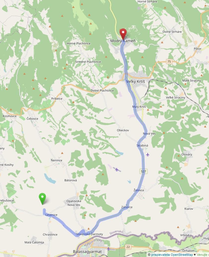 mapa cesty Lesenice - Modrý Kameň - od Penziónu u Huberta do Múzea hračiek